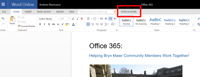 Office Online can open to desktop Word