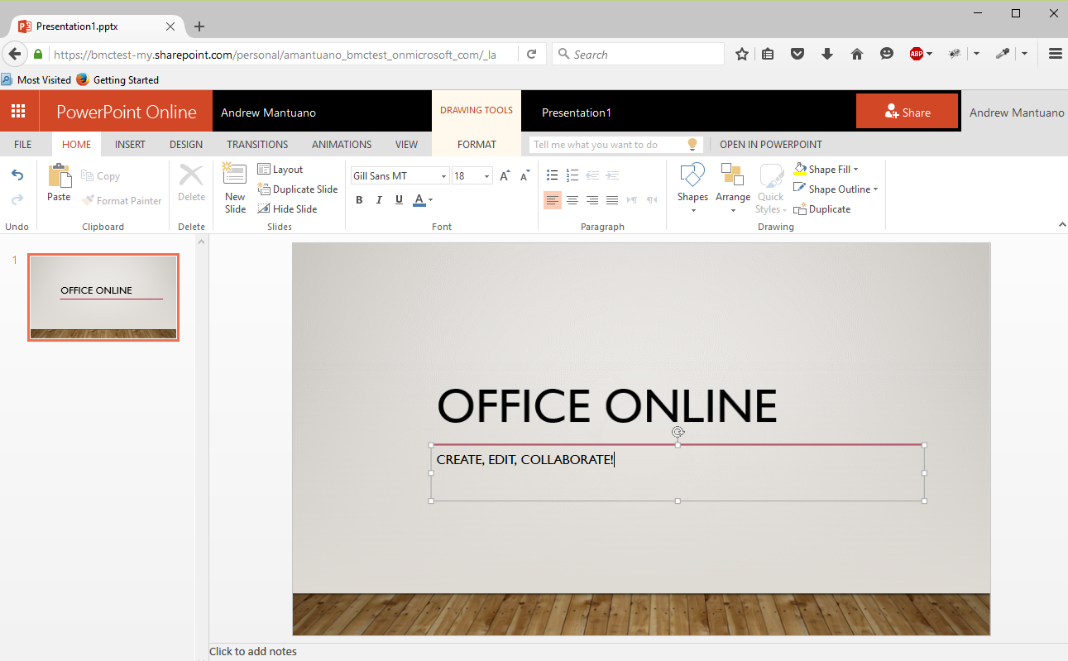 Screenshot of PowerPoint Online on Windows