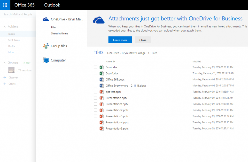 Adding an attachment via OneDrive for Business