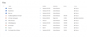 OneDrive for Business - list view