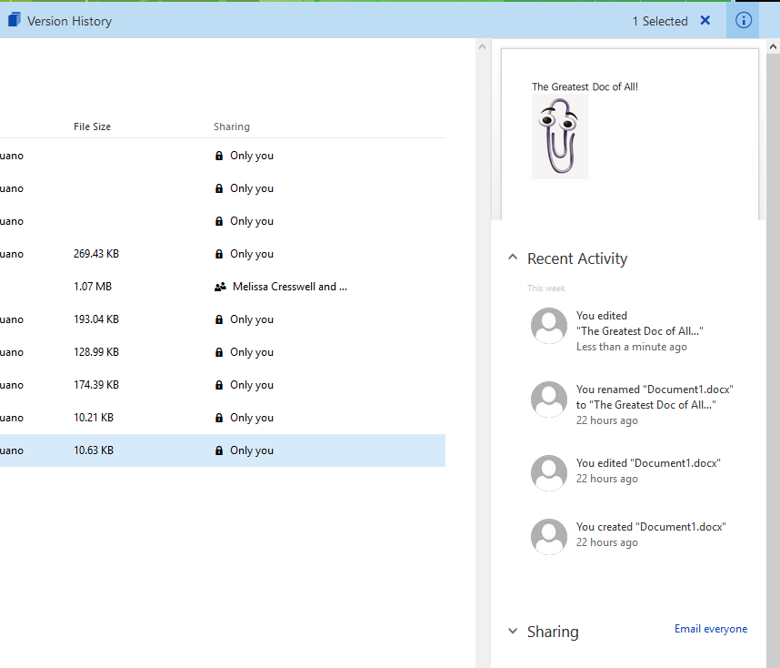Preview of a Word doc within OneDrive for Business