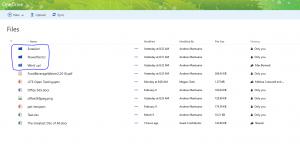 View of folders