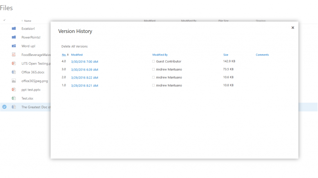 screenshot of restoring a previous version of a file in OneDrive for Business