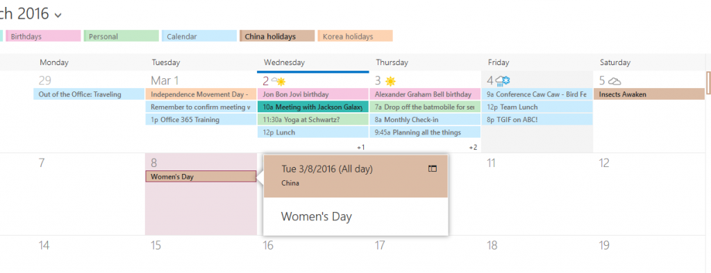 Showing holidays on the OWA calendar