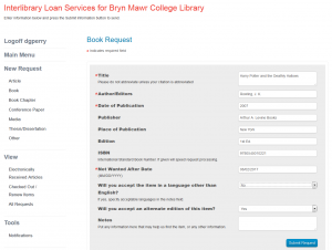 Screen shot of new ILL request form