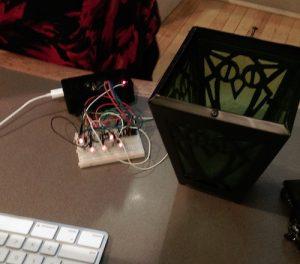 Photo of mini-computer lighting up LEDs