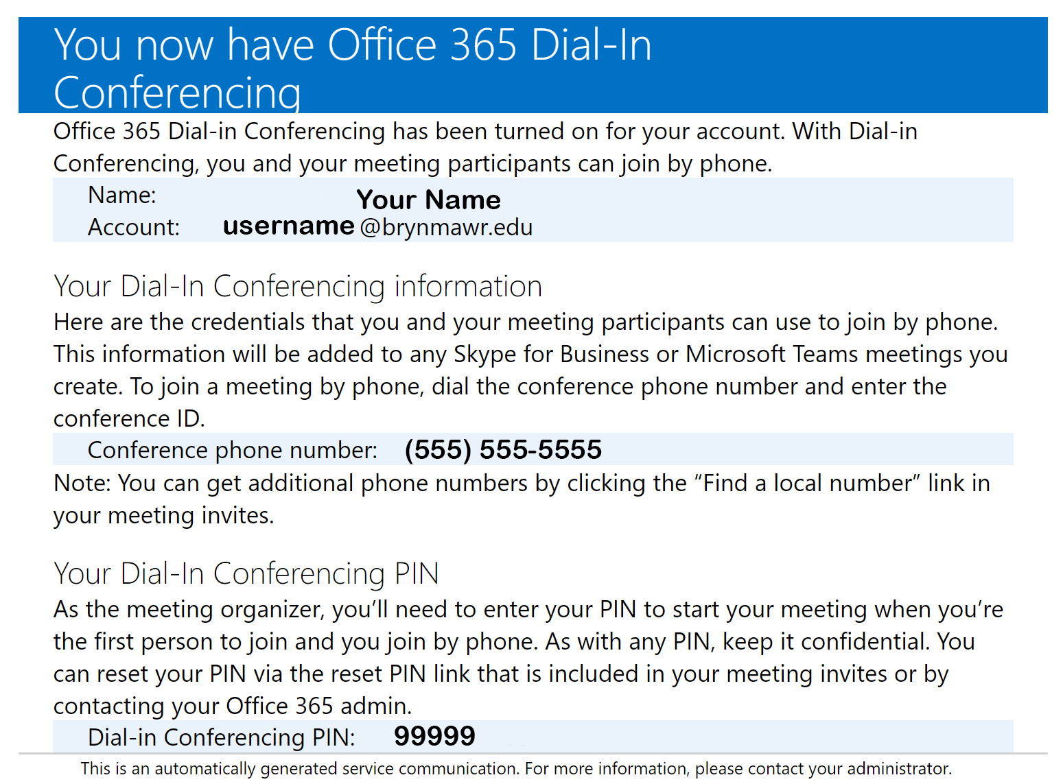2 of 2 screenshots of the Office 365 Dial-In Conferencing welcome email