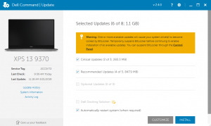 Dell command update notification that instructs users to temporarily suspend BitLocker